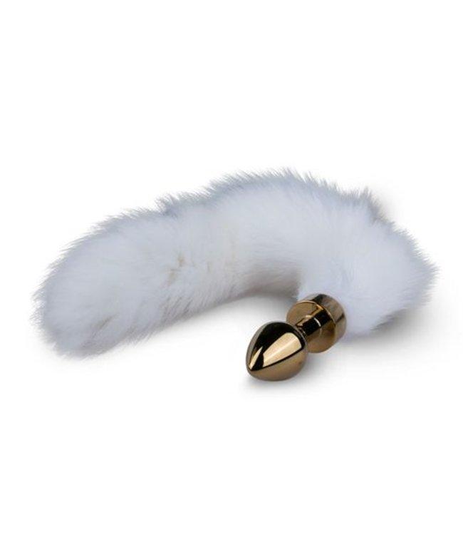 Easytoys Fetish Collection Zwarte buttplug met witte vossenstaart