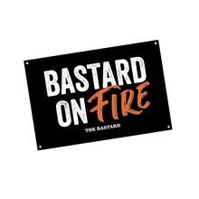 The Bastard Man Cave Plate Bastard on fire