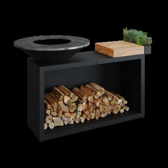 Ofyr Island Black 85 -100 teak hout en donker grijs  keramiek