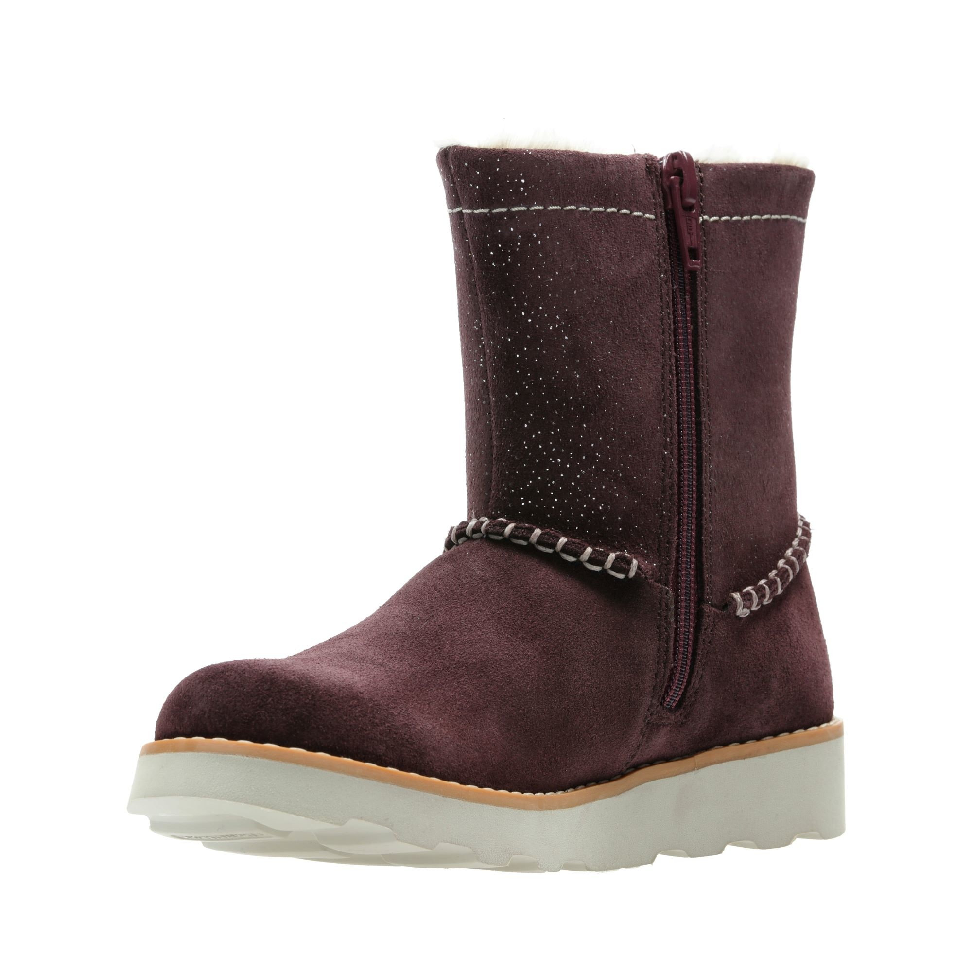Clarks Crown Piper Burgundy Youth