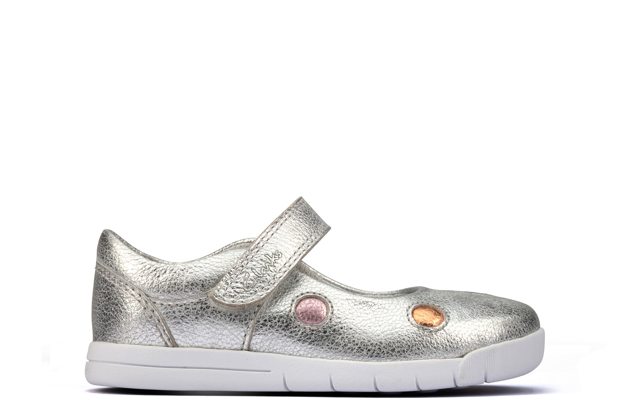 Clarks Emery Dot Silver Leather Junior