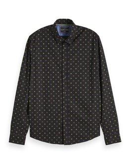 Scotch & Soda All Over Print Regular Fit Black Shirt