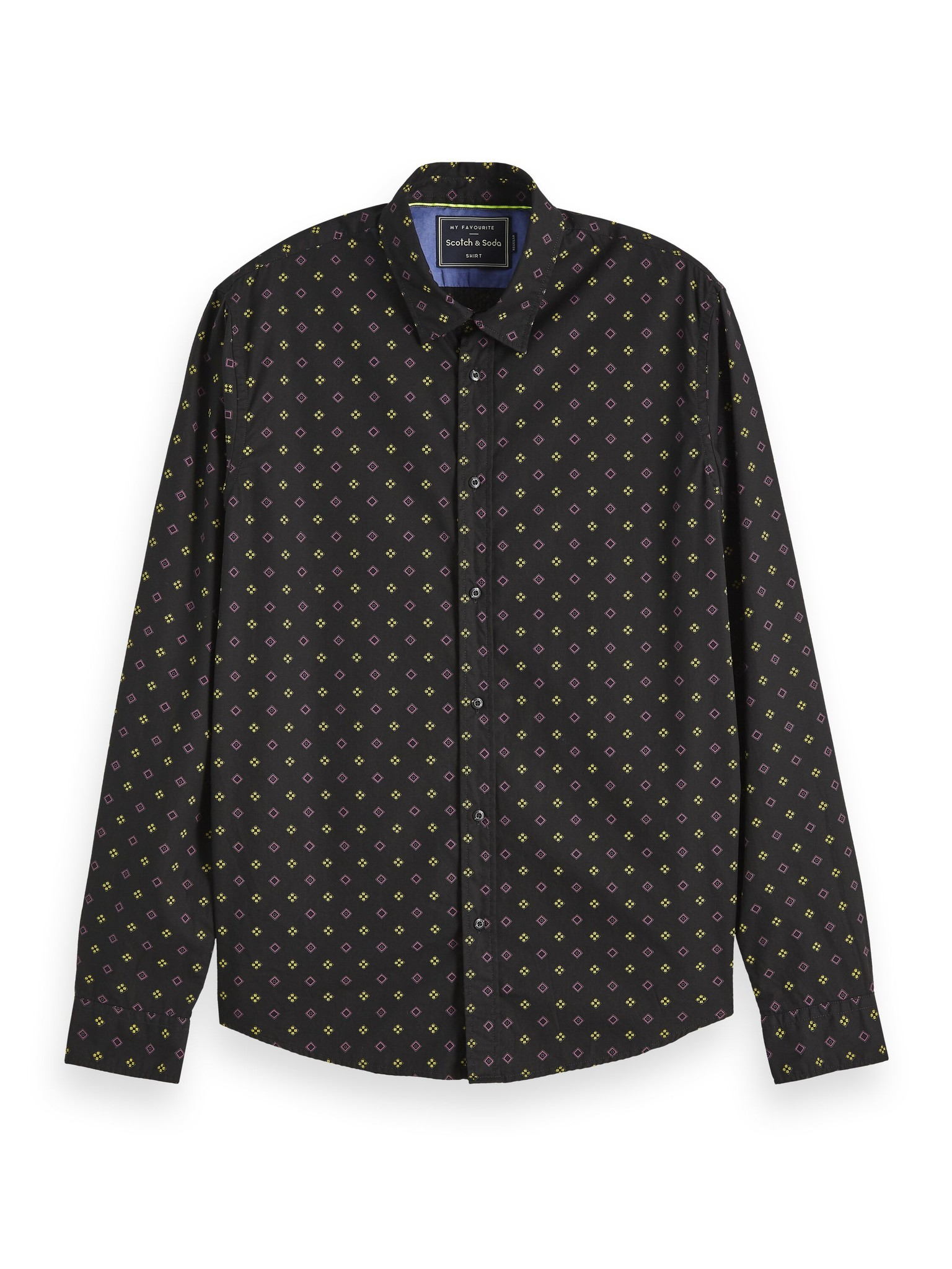 Scotch & Soda All Over Print Regular Fit Black Shirt | 152184