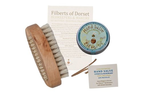 Filberts of Dorset Gift Box: Farm Hand Salve & Nail Brush