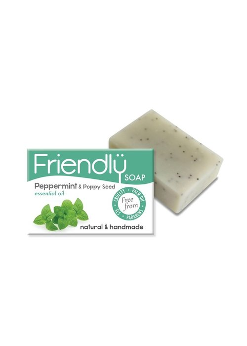 Friendly Soap Handmade Soap: Peppermint and Poppy Seeds Bar 95g