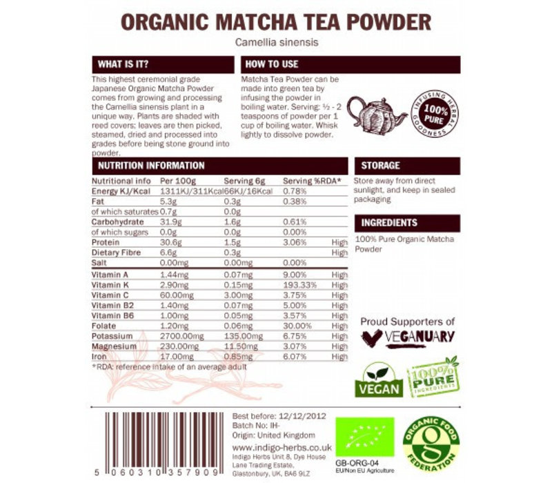 Organic Matcha Tea Powder – 50g