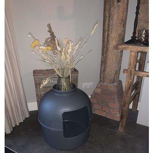 RHRQuality Flower XXL Cat Litter Box Grey