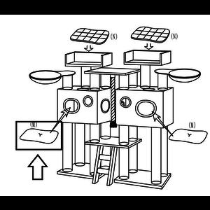 RHRQuality Cushion - Scratching Barrel 65x55 Royal Cat Palace Light Grey
