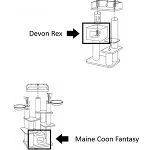 RHRQuality Playhome - Devon Rex/Maine Coon Fantasy Light Grey + Cushion