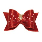 Show Tech Bow Handmade with Dots and Pearl Large Red