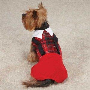 Casual Canine Xmas Yuletide Tartan Jumper XXS Red 20cm