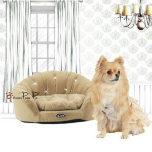 Pretty Pet Pretty Pet Velvet Round Couch Bed, Beige