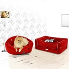 Pretty Pet Pretty Pet Velvet Round Couch-Bett, Red