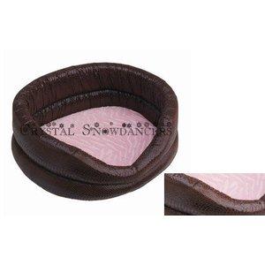 Happy House Luxe mand - Croco donkerbruin met roze velours