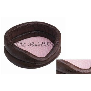 Happy House Luxurious basket - Croco brown with pink velor