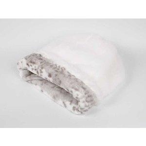Susan Lanci Design Cuddle cup White with Platinum Snow Leopard Large