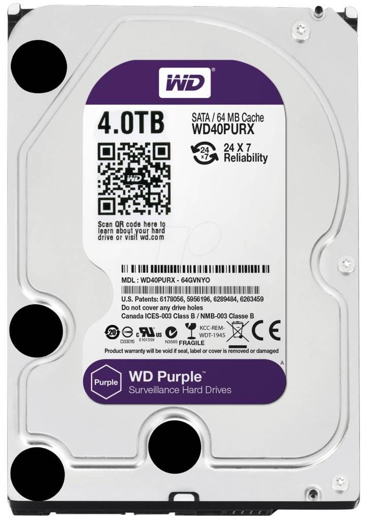 "WD Western Digital WD40PURX 4TB 3.5"" Internal Hard Drive - SATA - 64 MB Buffer Harde schijf voor bewaking"