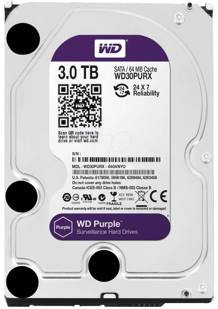 "WD Western Digital WD30PURX 3TB 3.5"" Internal Hard Drive - SATA - 64 MB Buffer Harde schijf voor bewaking"