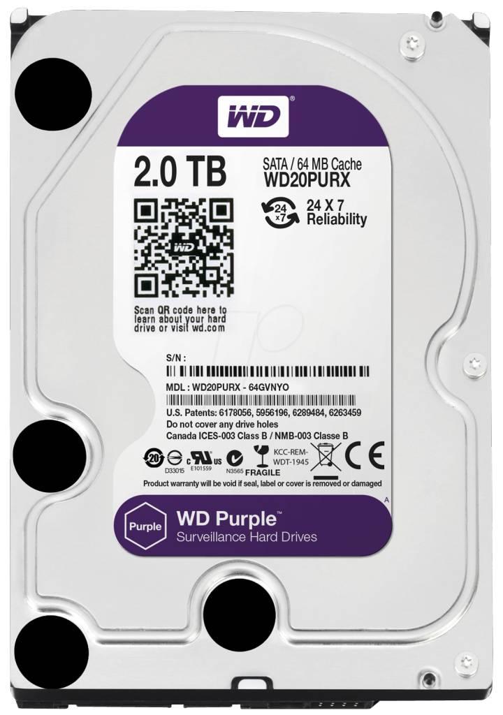 "WD Western Digital WD20PURX 2TB 3.5"" Internal Hard Drive - SATA - 64 MB Buffer Harde schijf voor bewaking"