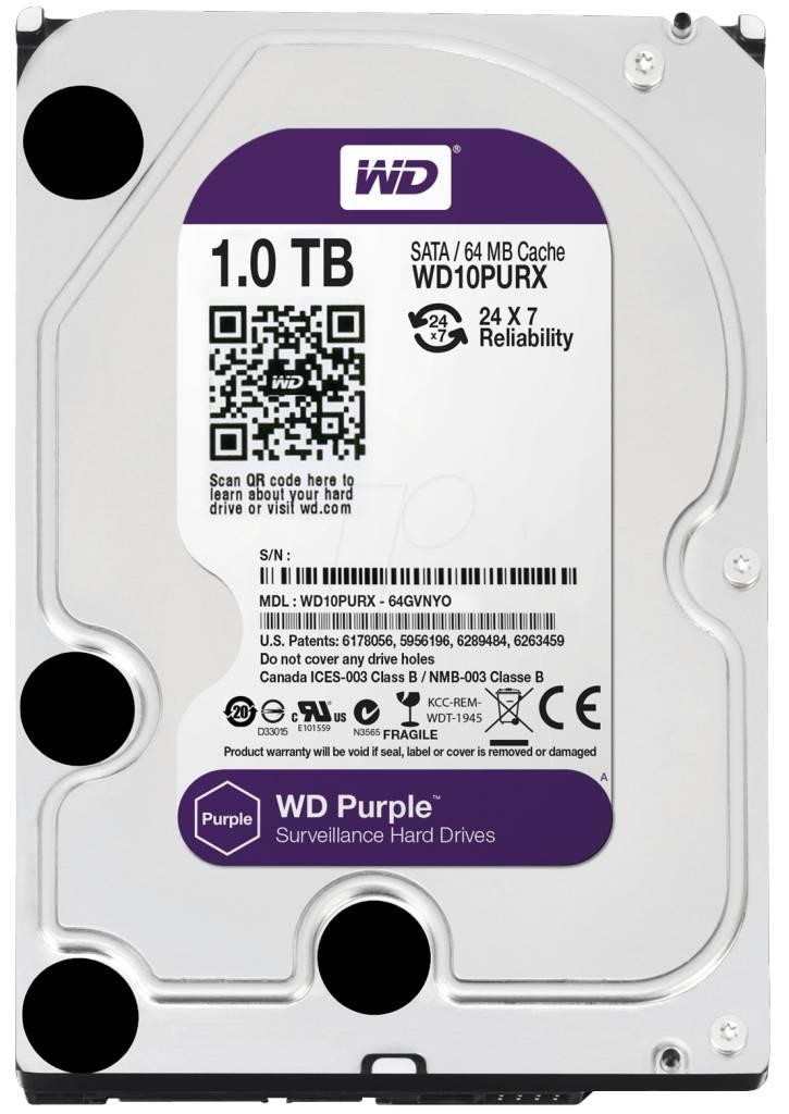 "WD Western Digital WD10PURX 1TB 3.5"" Internal Hard Drive - SATA - 64 MB Buffer Harde schijf voor bewaking"