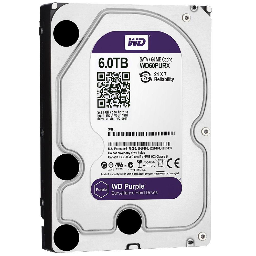 "WD Western Digital WD60PURX 6TB 3.5"" Internal Hard Drive - SATA - 64 MB Buffer Harde schijf voor bewaking"