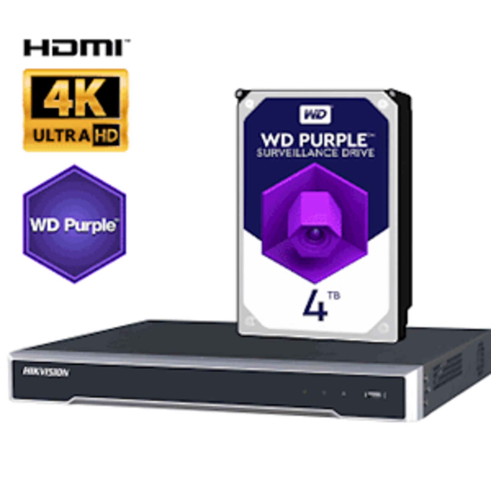 Hikvision DS-7604NI-K1/8P/4TB, 8 PoE poorten tot 250m, 4K output, 2TB HDD - Copy