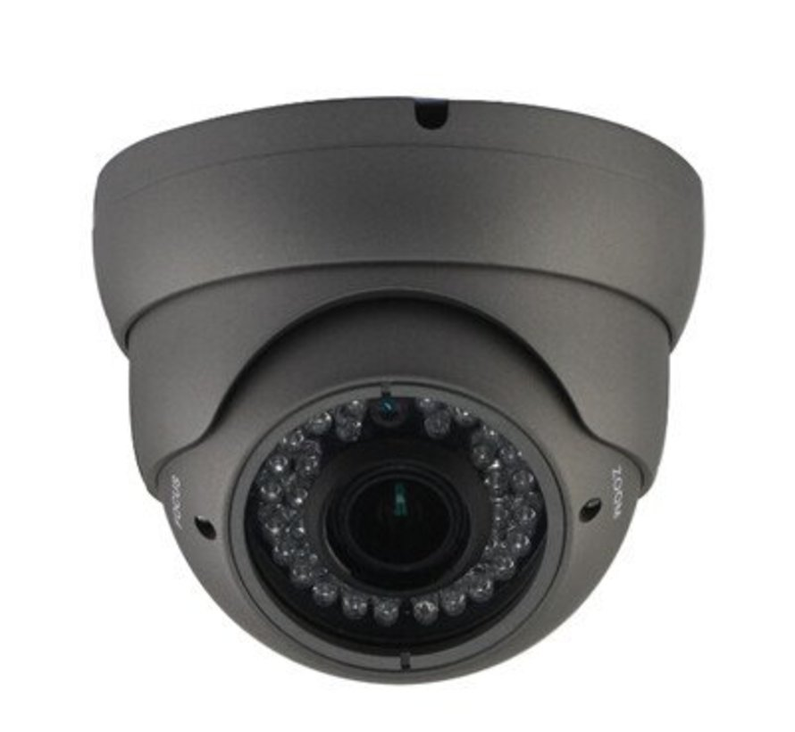 Beveiligingscamera Dome Turbo TVI Full HD met Sony 2.4MP CMOS 1080P met variabele lens 2.8-12mm kleur grijs