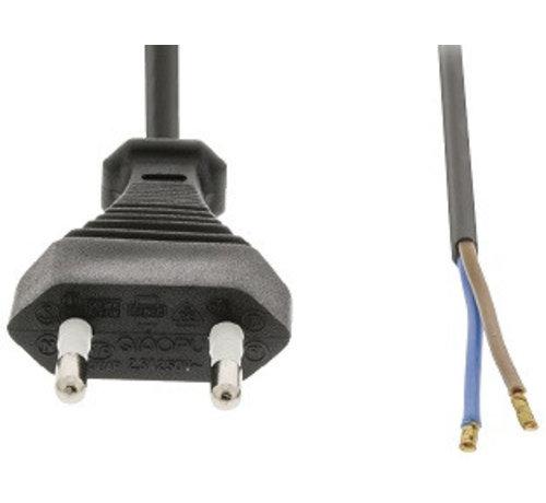 230V stekker met snoer lengte circa 2 meter kleur zwart