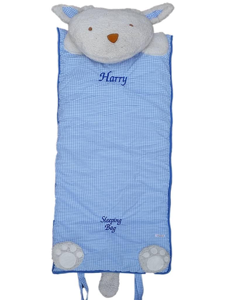 Blue White Gingham Sleeping Bag-2