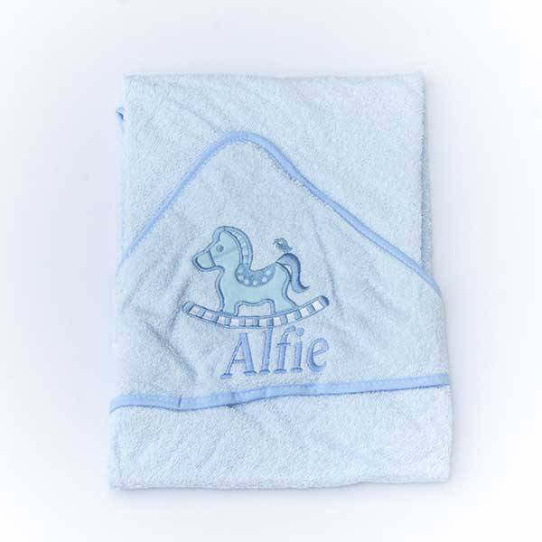 Personalised  Baby Boys Hooded Towel-3