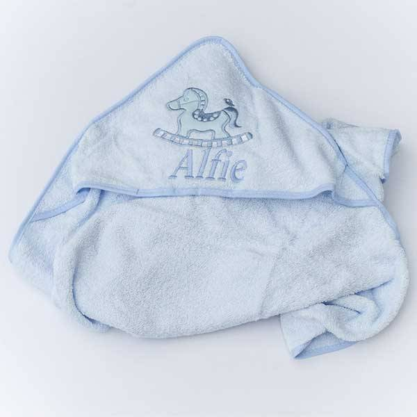 Personalised  Baby Boys Hooded Towel-1