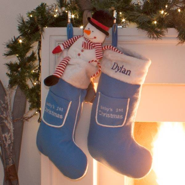 Personalised 1st Christmas Stocking in Blue and Red-1