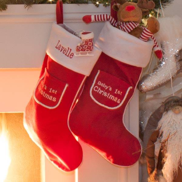 Personalised 1st Christmas Stocking in Blue and Red-3