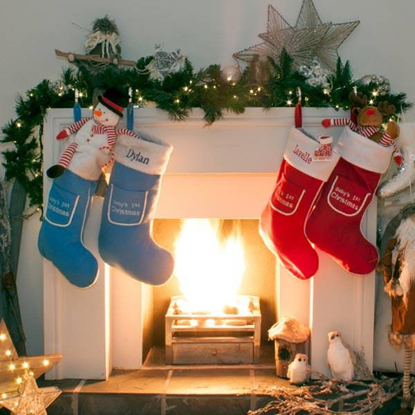 Personalised 1st Christmas Stocking in Blue and Red-2