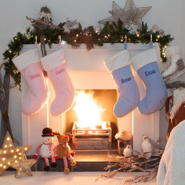 Pink and Blue Personalised Christmas Stockings-1