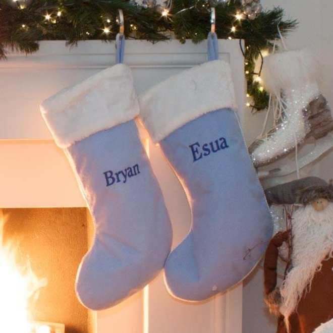 Pink and Blue Personalised Christmas Stockings