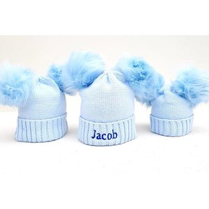 The Name Shops Blue 2 Pom Woollen Hat