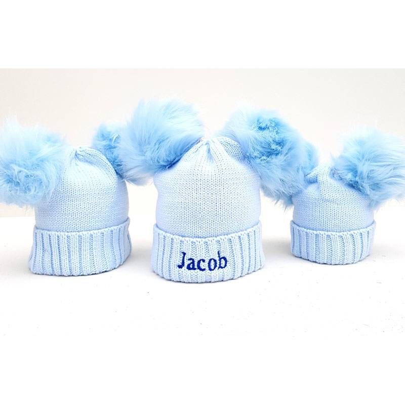 Personalised Blue Pom Pom Bobble Hats for Baby and Children-2