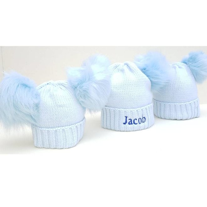 Personalised Blue Pom Pom Bobble Hats for Baby and Children