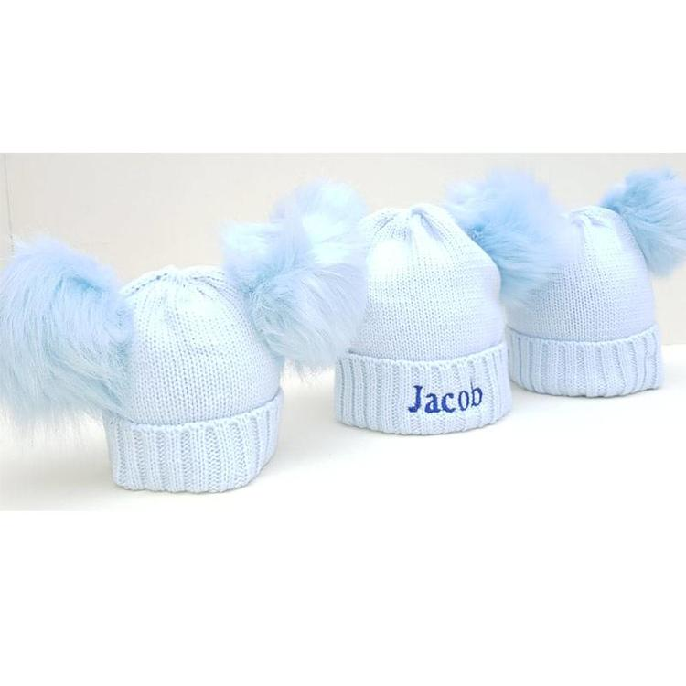 The Name Shops 2 Pom Blue Woollen Hat, Baby and Kids
