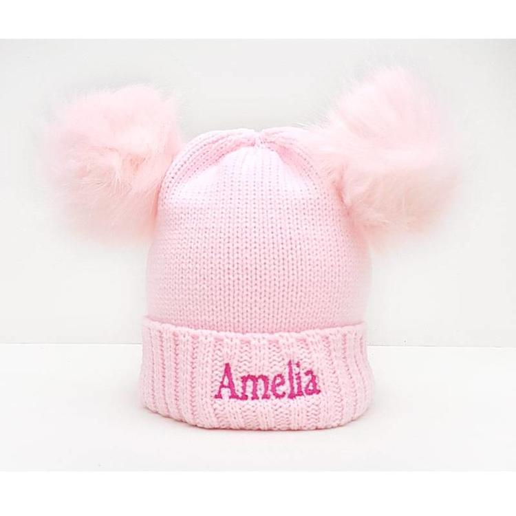 The Name Shops 2 Pom Pink Woollen Hat, Baby and Kids