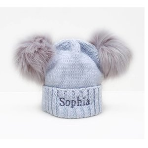The Name Shops 2 Pom Grey Woollen Hat, Baby and Kids