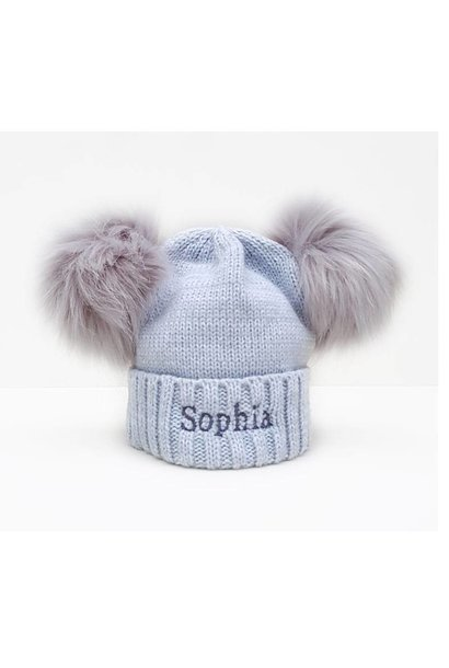 Personalised Pom Pom Bobble Hats - Grey