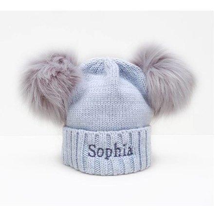 Baby Hats Personalised Grey Pom Pom Bobble Hat