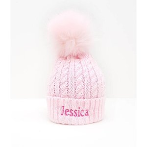 The Name Shops Pom Pink Woollen Hat, Baby and Kids