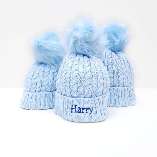 Boys Blue bobble pom Hat
