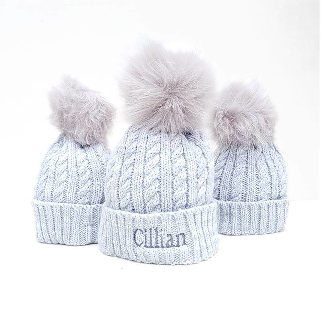 Personalised Grey Pom Bobble Hat, Baby and Children
