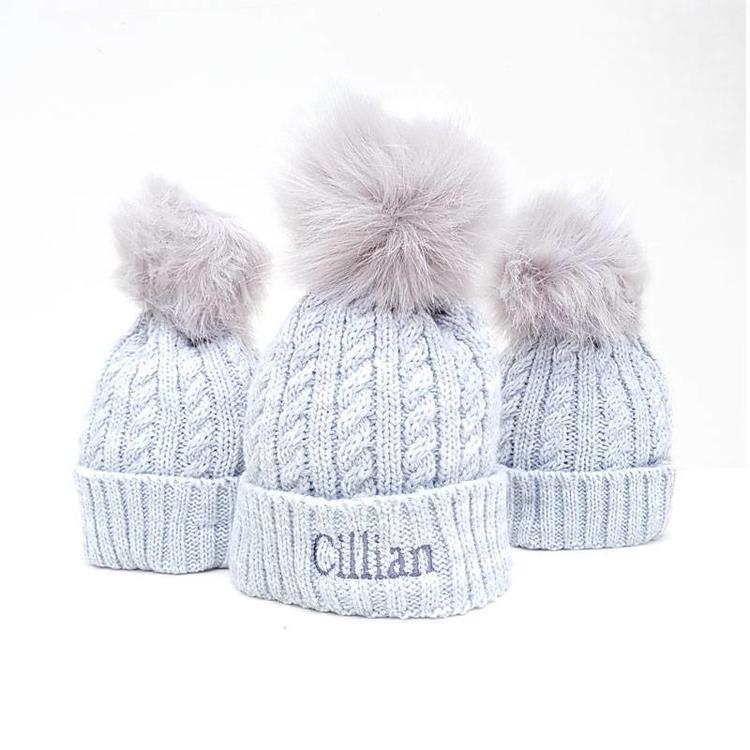 The Name Shops Grey Pink Woollen Hat, Baby and Kids