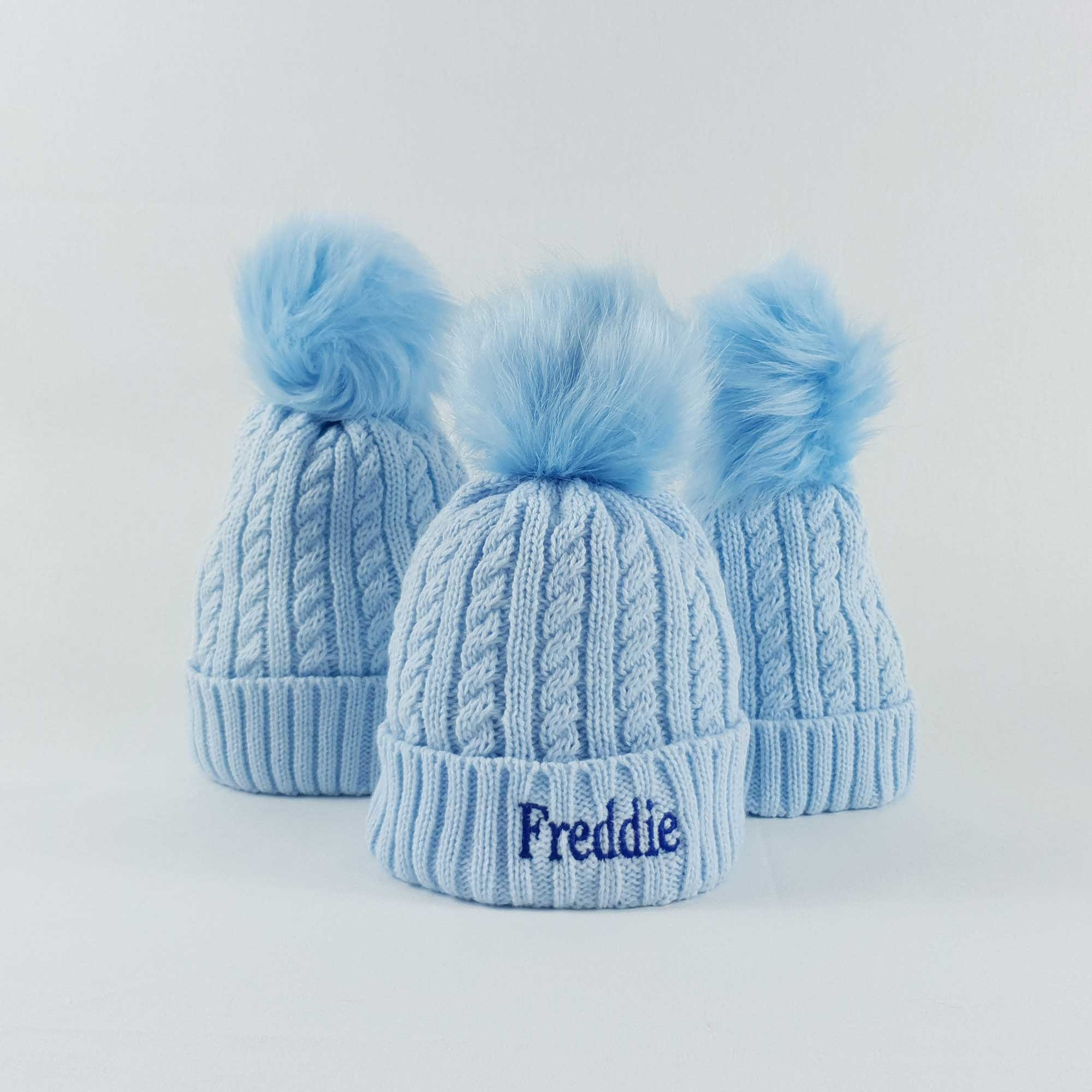 Blue bobble pom Hat, Baby and children-2