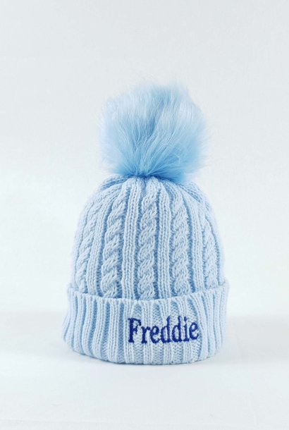 Personalised Blue Pom Bobble Hat